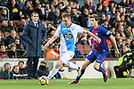 Fabian Lukas Schar of RC Deportivo La Coruna (L) in action against Sergi Roberto of FC Barcelona (R) during the La Liga 2017-18 match between FC Barcelona and Deportivo La Coruna at Camp Nou Stadium on 17 December 2017 in Barcelona, Spain. Photo by Vicens Gimenez / Power Sport Images