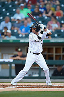 Ryan Goins (1) of the Charlotte Knights at bat against the Toledo Mud Hens at BB&T BallPark on April 24, 2019 in Charlotte, North Carolina. The Knights defeated the Mud Hens 9-6. (Brian Westerholt/Four Seam Images)