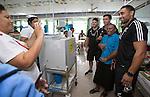 Josh Hohneck (L), Sean Wainui, Joe Edwards. Suva Children's Hospital. Suva, Fiji. July 10 2015. Photo: Marc Weakley