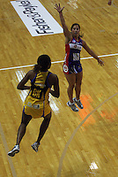 Mystics wing attack Keshia Grant defends against Althea Byfield during the ANZ Netball Championship match between the Central Pulse and Northern Mystics, TSB Bank Arena, Wellington, New Zealand on Monday, 4 May 2009. Photo: Dave Lintott / lintottphoto.co.nz