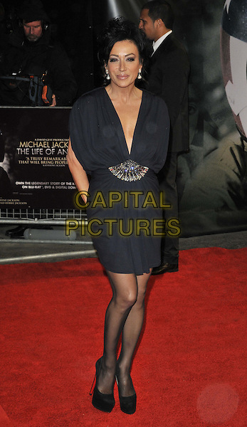 "Nancy Dell'Olio.The ""Michael Jackson : The Life Of An Icon"" UK premiere, Empire cinema, Leicester Square, London, England..2nd November 2011.full length black blue dress shoes beads beaded .CAP/CAN.©Can Nguyen/Capital Pictures."