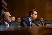 United States Senator Josh Hawley (Republican of Missouri) speaks during the U.S. Senate Committee on the Judiciary hearing on Capitol Hill in Washington D.C., U.S. on July 31, 2019.<br /> <br /> Credit: Stefani Reynolds / CNP/AdMedia