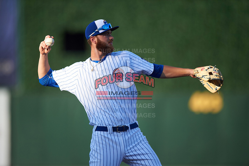 South Bend Cubs third baseman Matt Rose (17) throws to first during a game against the Burlington Bees on July 22, 2016 at Four Winds Field in South Bend, Indiana.  South Bend defeated Burlington 4-3.  (Mike Janes/Four Seam Images)