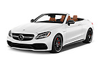 2017 Mercedes Benz C Class AMG 63 S 2 Door Convertible angular front stock photos of front three quarter view