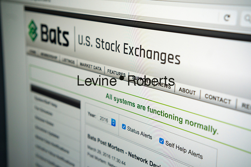 The website of the BATS Global Markets stock trading website, seen on Tuesday, April 5, 2016. The electronic exchange operator announced plans for an IPO with pricing at $17 to $19. BATS attempted an initial public offering in 2012 but technical glitches caused it to cancel its IPO. (© Richard B. Levine)