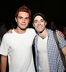 "KJ Apa and Corey Cott backstage at Broadway's ""Bandstand"" at the Bernard Jacobs Theate on May 19, 2017 in New York City."
