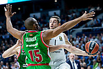 Real Madrid Fabien Causeur and Kirolbet Baskonia Jayson Granger during Turkish Airlines Euroleague match between Real Madrid and Kirolbet Baskonia at Wizink Center in Madrid, Spain. October 19, 2018. (ALTERPHOTOS/Borja B.Hojas)