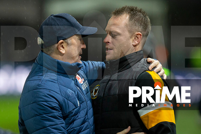 Middlesbrough manager Tony Pulis greets Newport County manager Michael Flynn ahead of the FA Cup 4th round replay match between Newport County and Middlesbrough at Rodney Parade, Newport, Wales on 5 February 2019. Photo by Mark  Hawkins / PRiME Media Images.