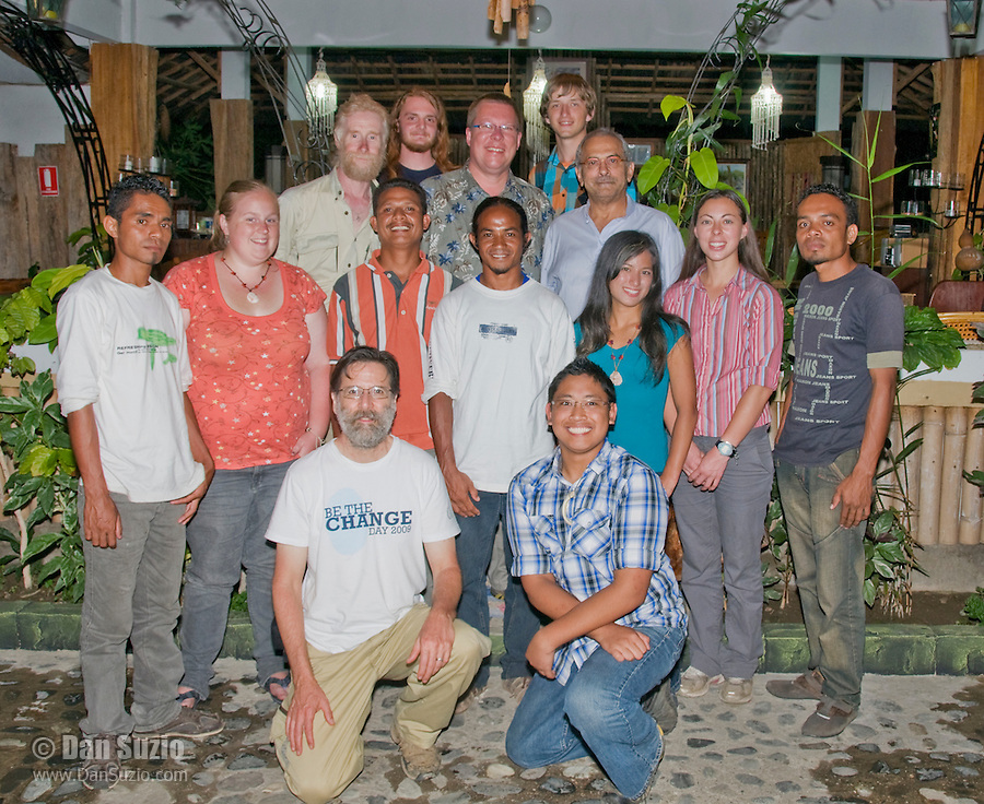 "President Jose Ramos-Horta welcomes Professor Hinrich Kaiser's biology students to Timor-Leste (East Timor) at his home on February 4, 2010. Back row, left to right: Herpetologist Mark O'Shea, Scott Heacox, Professor Hinrich Kaiser, Eric Leatham, President Jose Ramos-Horta. Middle row: Zito Afranio, Mary Weil, Venancio ""Benny"" Lopez Carvalho, Agivedo ""Laca"" Ribeiro, Marianna Tucci, Caitlin Sanchez, Luis Lemos. Front row, kneeling:  Wildlife photographer Dan Suzio, Jester Ceballos. Photo by Claudia Abate / Dan Suzio Photography."
