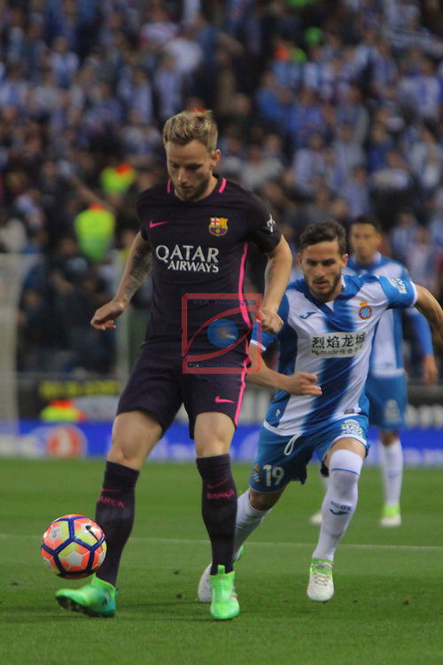League Santander 2016/2017. Game: 35.<br /> RCD Espanyol vs FC Barcelona: 0-3.<br /> Ivan Rakitic vs Pablo Piatti.