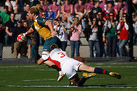 February 14 2009, San Diego, CA, USA:  The IRB USA Sevens Tournament at Petco Park in Downtown San Diego.  An Australian player is tackled by Paul Emerick of the USA during day one action.  The US went on to win the match 17 - 12.