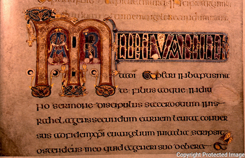 Visual Arts:  Book of Kells--illuminated manuscript, Gospel Book in Latin.   On permanent display at the Trinity College Library, Dublin.  Photo '84.