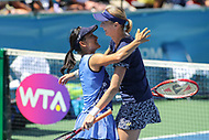 Washington, DC - August 5, 2017:  Shuko Aoyama (JPN) and Renata Voracova (CZE) celebrate winning the Women Doubles championship match at Rock Creek Park Tennis Center in Washington, DC. (Photo by Elliott Brown/Media Images International)
