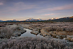 Idaho, South Central, Stanley. Morning frost ocats the spring landscape in the Sawtooth National Recreation Area.