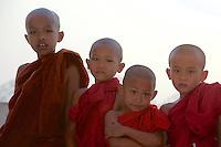 Novice Monks at a Pagoda on the Ayeyarwaddy river bank near Sagaing,Mandalay Myanmar/Burma