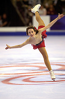 Sarah Hughes of USA performs spiral during US Championships in January, 2000 at Boston. (Photo by Tom Theobald)