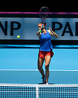 8th November 2019; RAC Arena, Perth, Western Australia, Australia; Fed Cup by BNP Paribas Final Tennis, Australia versus France, Practice Day; Caroline Garcia of France plays a forehand shot during her practise session - Editorial Use