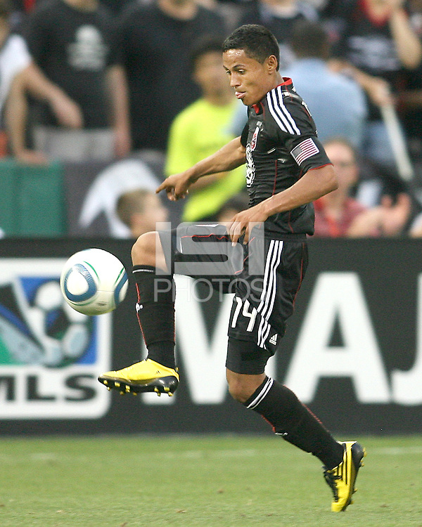 Andy Najar #14 of D.C. United collects a pass during an MLS match against Real Salt Lake at RFK Stadium, on June 5 2010 in Washington DC. The game ended in a 0-0 tie.