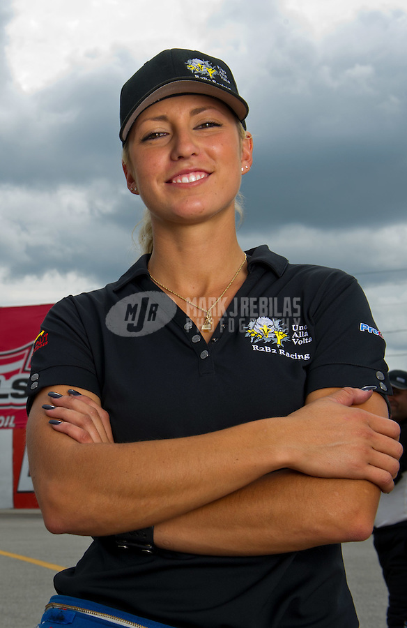 Sept. 4, 2011; Claremont, IN, USA: NHRA pro mod driver Leah Pruett during qualifying for the US Nationals at Lucas Oil Raceway. Mandatory Credit: Mark J. Rebilas-