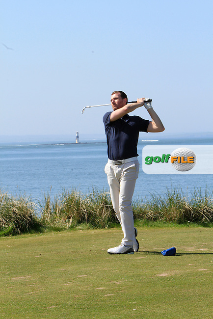Stephen Loftus (Lahinch) on the 13th tee during Match Play round 1 of The West of Ireland Amateur Open in Co. Sligo Golf Club on Sunday 20th April 2014.<br /> Picture:  Thos Caffrey / www.golffile.ie