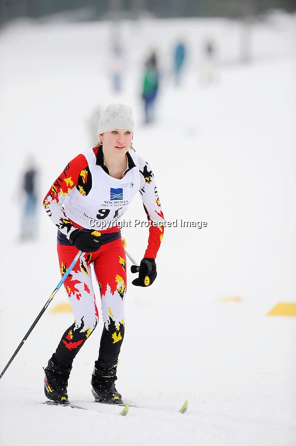 A skier competes at the 2009 Wisconsin High School Nordic Ski Championships held Feb. 7, 2009 at Minocqua Winter Park & Nordic Center, in Minocqua, WI.