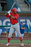 Jose Verrier (12) of the Orem Owlz bats against the Ogden Raptors at Lindquist Field on June 22, 2019 in Ogden, Utah. The Owlz defeated the Raptors 7-4. (Stephen Smith/Four Seam Images)