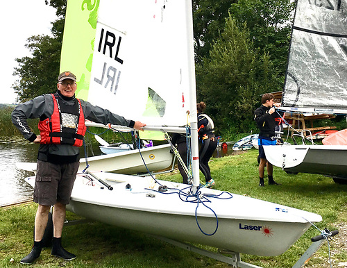 Frank Larkin with his newest Laser at Killaloe Sailing Club