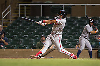 Scottsdale Scorpions first baseman Darick Hall (30), of the Philadelphia Phillies organization, follows through on his swing during an Arizona Fall League game against the Salt River Rafters at Salt River Fields at Talking Stick on October 11, 2018 in Scottsdale, Arizona. Salt River defeated Scottsdale 7-6. (Zachary Lucy/Four Seam Images)