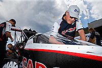 Jul 24, 2016; Morrison, CO, USA; Richard Hogan , crew chief for NHRA top fuel driver Steve Torrence during the Mile High Nationals at Bandimere Speedway. Mandatory Credit: Mark J. Rebilas-USA TODAY Sports