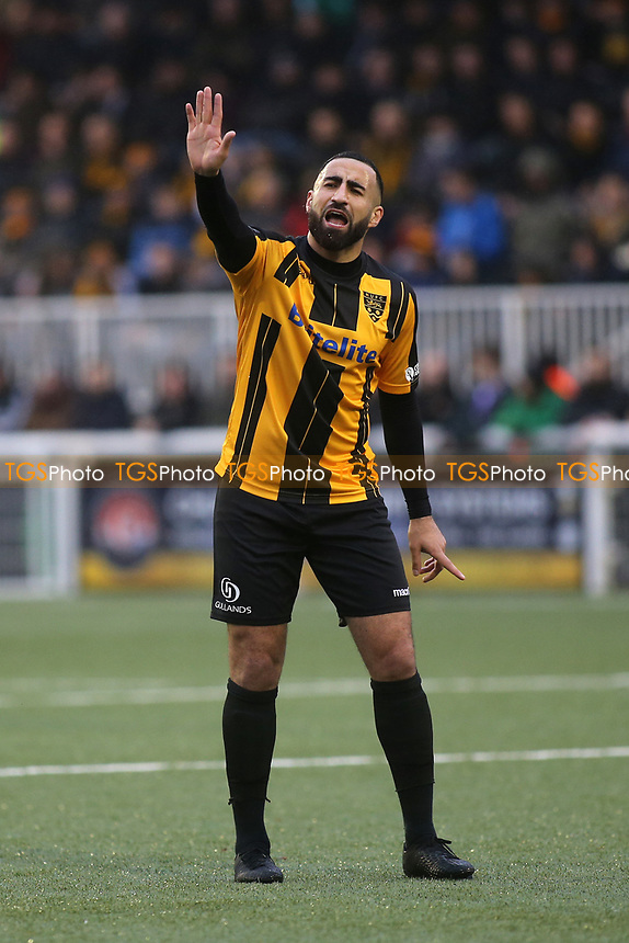 Aryan Tajbakhsh of Maidstone United urges one of his teammates to take his time at a throw-in during Maidstone United vs Oldham Athletic, Emirates FA Cup Football at the Gallagher Stadium on 1st December 2018