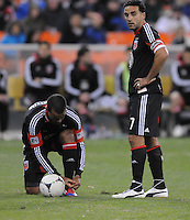D.C. United midfielder Dwayne De Rosario (7)  waits to make a free kick next to forward Maicon Santos (29) Sporting Kansas City defeated D.C. United  1-0 at RFK Stadium, Saturday March 10, 2012.