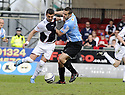 24/04/2010   Copyright  Pic : James Stewart.sct_jsp005_falkirk_v_hamilton  .::  PEDRO MOUTINHO TRIES TO GET PAST MARK MCLAUGHLIN ::  .James Stewart Photography 19 Carronlea Drive, Falkirk. FK2 8DN      Vat Reg No. 607 6932 25.Telephone      : +44 (0)1324 570291 .Mobile              : +44 (0)7721 416997.E-mail  :  jim@jspa.co.uk.If you require further information then contact Jim Stewart on any of the numbers above.........