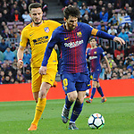 League Santander 2017/2018. Game: 28.<br /> FC Barcelona vs At. Madrid: 1-0.<br /> Saul &Ntilde;iguez vs Lionel Messi.