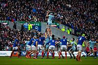 8th March 2020; Murrayfield Stadium, Edinburgh, Scotland; International Six Nations Rugby, Scotland versus France; Jamie Ritchie of Scotland wins a lineout