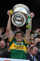 David Moran lifts the Sam Maguire Cup to celebrate  Kerry's victory over Donegal in the All-Ireland Football Final against  in Croke Park 2014.<br /> Photo: Don MacMonagle<br /> <br /> <br /> Photo: Don MacMonagle <br /> e: info@macmonagle.com