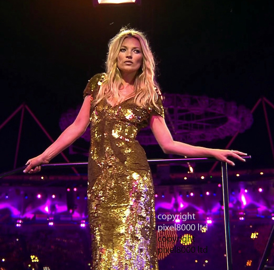 Olympics 2012 - BBC Coverage.Closing ceremony.British Fashion represented by supermodels Naomi Campbell Kate Moss Lara Stone Lily Cole and others......Picture by Pixel8000 07917221968