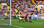 Matt Done of Sheffield Utd scores the winning goal past Luke McGee of Peterborough Utd  during the League One match at Bramall Lane Stadium, Sheffield. Picture date: September 17th, 2016. Pic Simon Bellis/Sportimage