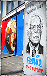 Two street art work of Bernie Sanders 2016 presidential campaign run, art work by two Los Angeles artist @teach1 and @lydiaemily,