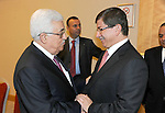 Palestinian President Mahmud Abbas meets with Turkish Foreign Minister, Ahmed Dawoud Ouglo in Istanbul on July 23, 2011. Mahmud Abbas said Saturday that the Palestinians' bid for UN membership was forced upon them by Israel's refusal to halt settlement building and end its occupation. Photo by Thaer Ganaim