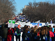 Washington, DC - January 19, 2018: Tens of thousands of people participate in the annual March for Life in Washington, D.C. January 19, 2018 as they march to the U.S. Supreme Court.  (Photo by Don Baxter/Media Images International)