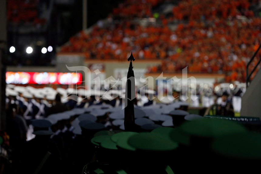 Virginia Tech Hokies Cadet Corps take the field before the game against Ohio State Buckeyes at Lane Stadium in Blacksburg, Va on September 7, 2015.  (Dispatch photo by Kyle Robertson) corps