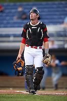 Batavia Muckdogs catcher David Gauntt (46) during a game against the West Virginia Black Bears on June 28, 2016 at Dwyer Stadium in Batavia, New York.  Batavia defeated West Virginia 3-1.  (Mike Janes/Four Seam Images)