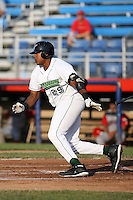 June 27th 2008:  Ernie Banks of the Jamestown Jammers, Class-A affiliate of the Florida Marlins, during a game at Russell Diethrick Park in Jamestown, NY.  Photo by:  Mike Janes/Four Seam Images