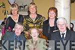 HALE AND HEARTY: Celebrating Katherine Kellihers 100th birthday in the Dromhall Hotel, Killarney, on New Years Day were, front l-r: Timmy Kelliher, London, Katherine Kelliher, Countess Road, Killarney, and Jerry Kelliher, Dublin. Back l-r: Brenda Dunne, Tralee, Kathy OConnor, Dingle, and Mary Shoemacker, Springfield, USA.