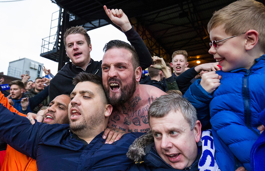 Leicester City fans enjoy their side's victory at full time<br /> <br /> Photographer Craig Mercer/CameraSport<br /> <br /> Football - Barclays Premiership - Crystal Palace v Leicester City - Saturday 19th March 2016 - Selhurst Park - London<br /> <br /> &copy; CameraSport - 43 Linden Ave. Countesthorpe. Leicester. England. LE8 5PG - Tel: +44 (0) 116 277 4147 - admin@camerasport.com - www.camerasport.com