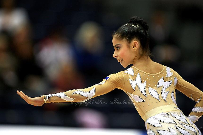 Filipa Siderova of Bulgaria finishes ribbon routine at 2006 Aeon Cup Worldwide Club Championships in rhythmic gymnastics on November 16, 2006 at Mie, Japan.<br />