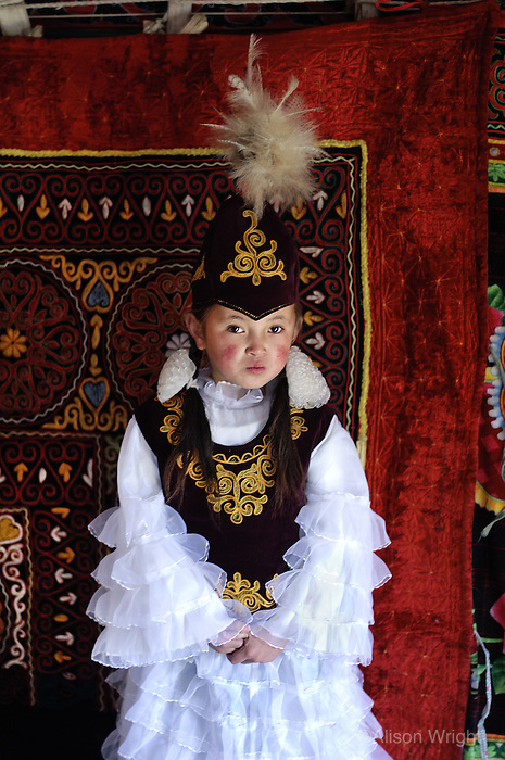 Kazakh girl dressed up to visit the eagle festival