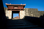 Photo shows Roukokumon gate inside the grounds of Shuri-jo Castle in Naha, Okinawa Prefecture, Japan, on June 24, 2012. Named after the water clock in the gate's turret, high-ranking officials would alight from their palanquins at Roukokumon out of respect for the king. Photographer: Robert Gilhooly