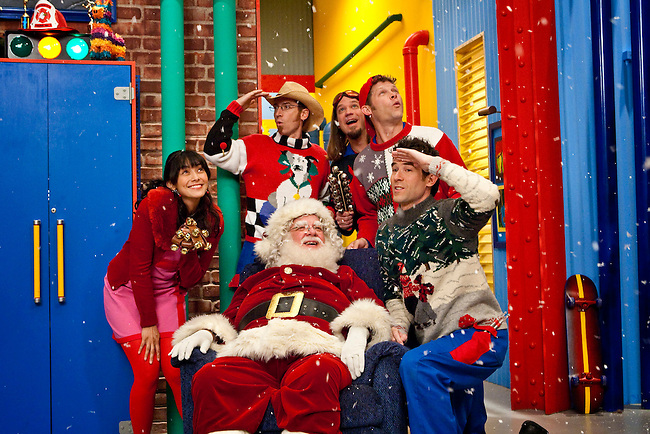 Wendy Calio, David Titus, Scott 'Smitty' Smith, Scott Durbin, Dave Poche, Rich Collins in Disney Channel's 'The Imagination Movers' in the episode 'Happy Ha-Ha-Holidays.'