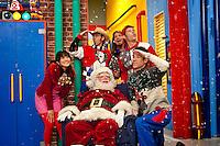 Wendy Calio, David Titus, Scott 'Smitty' Smith, Scott Durbin, Dave Poche, Rich Collins in Disney Channel's 'The Imagination Movers' in the episode 'Happy Ha-Ha-Holidays.'
